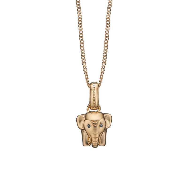 Image of   Christina vedhæng Lucky Elephant i forgyldt