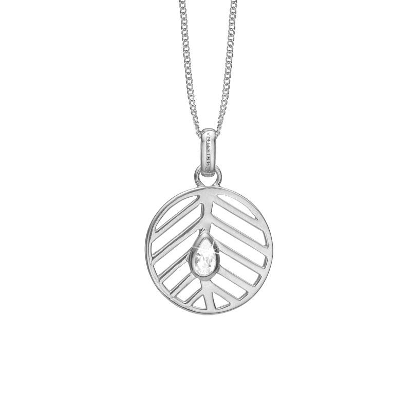 Image of   CHRISTINA vedhæng Open Leaf i sølv med 1 topas
