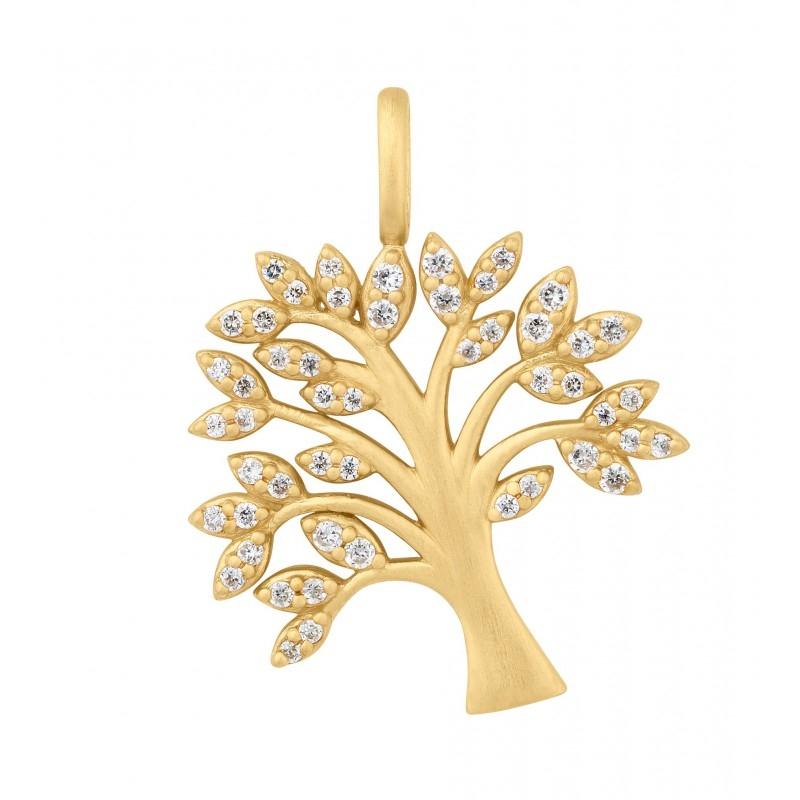 Image of   ByBiehl Tree of Life Vedhæng i forgyldt med CZ
