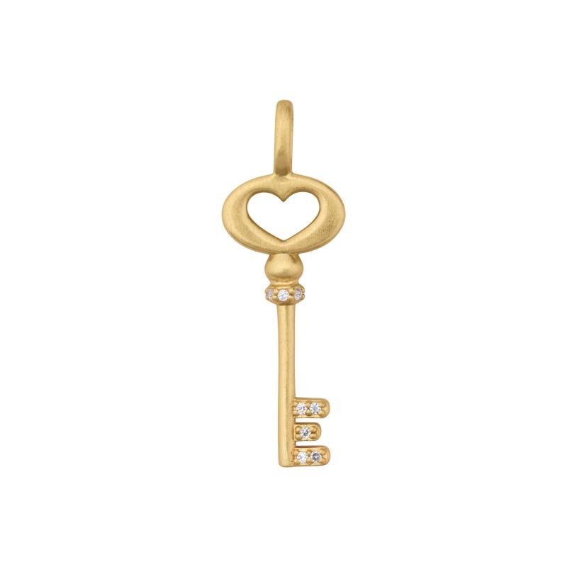 Image of   ByBiehl Unlock Love nøgle med hjerte i forgyldt