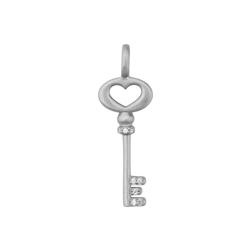 Image of   ByBiehl Unlock Love nøgle med hjerte i sølv