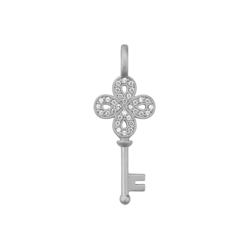 Image of   ByBiehl Unlock Happiness nøgle med blomst i sølv