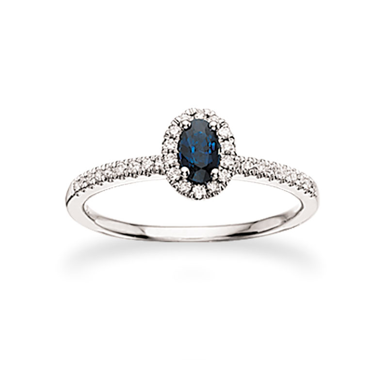 Image of   Scrouples roset ring i 14kt. hvidguld med safir og diamanter