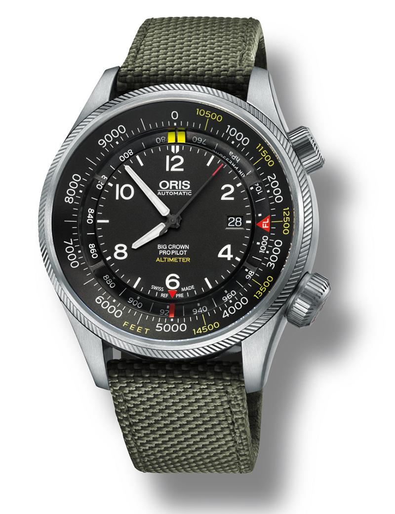 Image of   ORIS BIG CROWN PROPILOT ALTIMETER feet scala automatik armbåndsur med sort skive og grøn nylon rem