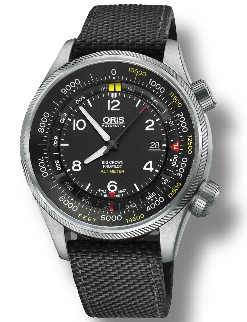 Image of   ORIS BIG CROWN PROPILOT ALTIMETER meter scala automatik armbåndsur med sort skive og grøn nylon rem
