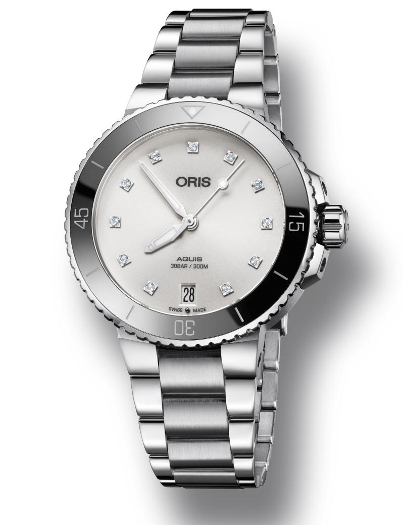 Image of   ORIS AQUIS LADY DATE automatik diamant armbåndsur med hvid skive og lænke