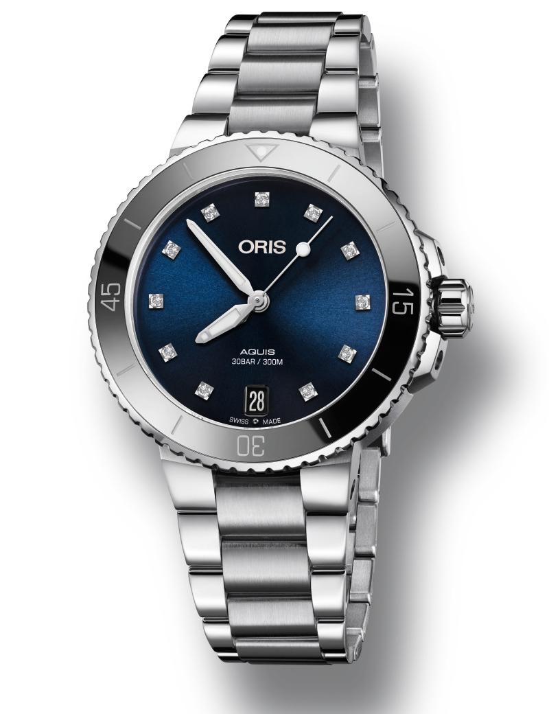 Image of   ORIS AQUIS LADY DATE automatik diamant armbåndsur med deep blue skive med lænke