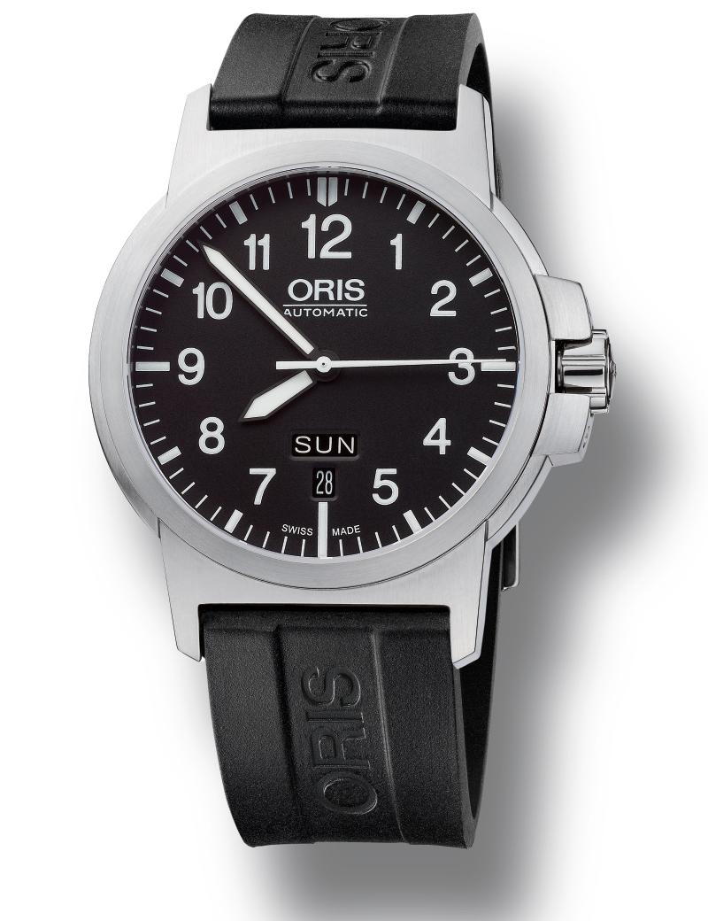 Image of   ORIS BC 3 ADVANCED, DAY DATE automatik armbåndsur i stål med sort skive og sort gummi rem