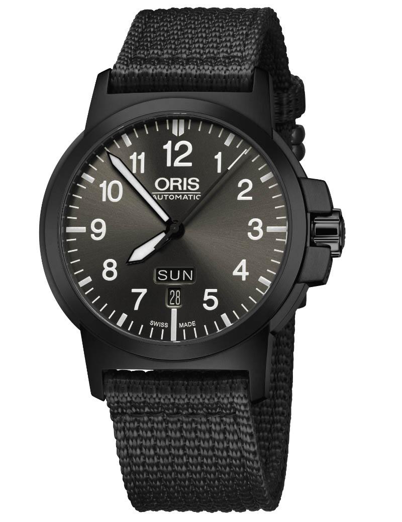 Image of   ORIS BC 3 ADVANCED, DAY DATE automatik sort armbåndsur med sort skive og sort tekstil rem