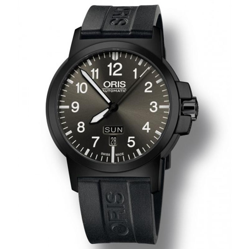 Image of   ORIS BC 3 ADVANCED, DAY DATE automatik sort armbåndsur med sort skive og sort gummi rem