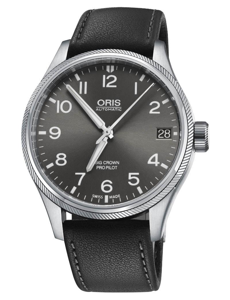 Image of   ORIS BIG CROWN PROPILOT BIG DATE automatik armbåndsur med grå skive og sort læderrem