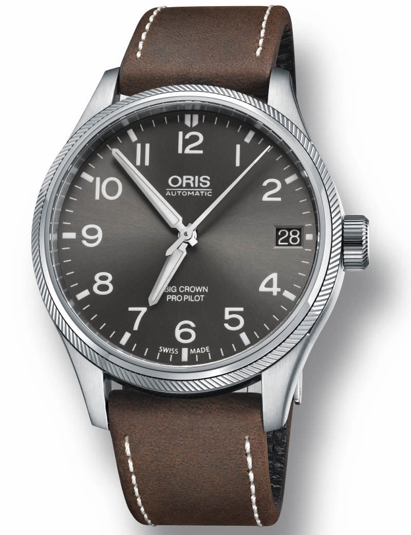 Image of   ORIS BIG CROWN PROPILOT BIG DATE automatik armbåndsur med grå skive og brun læderrem