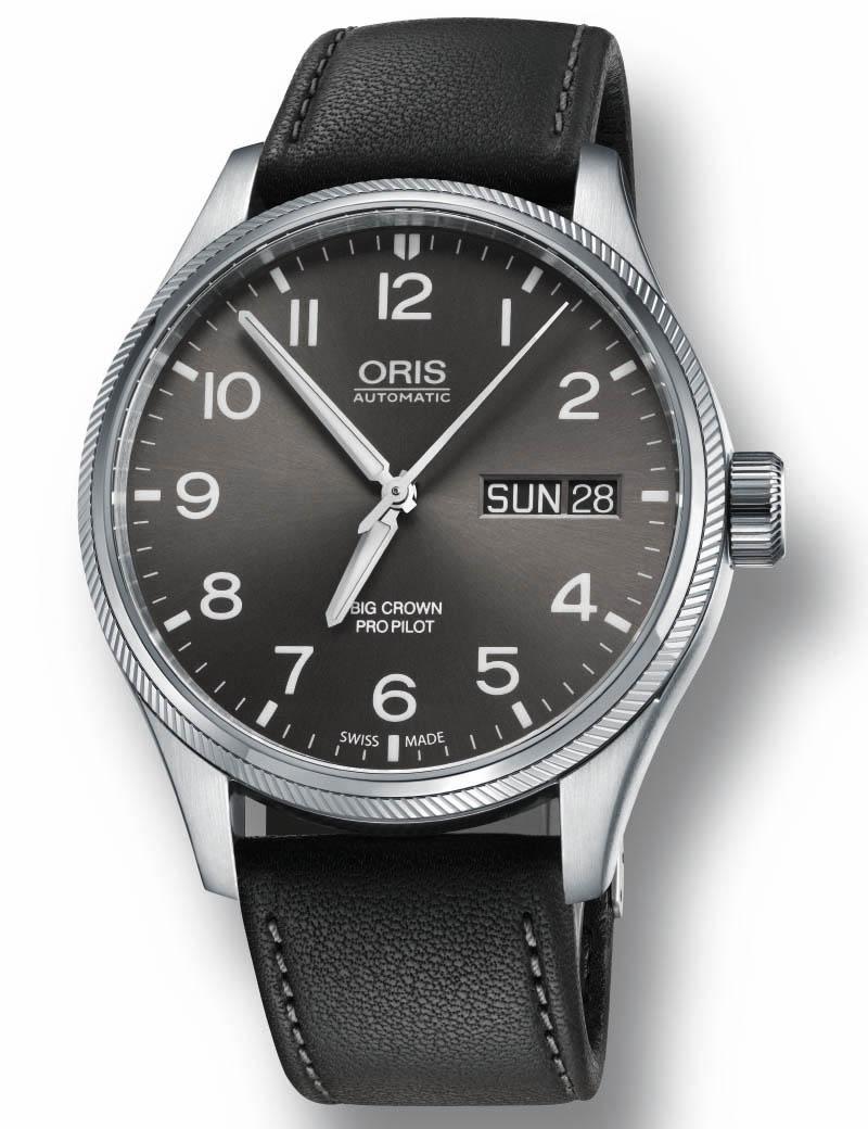 Image of   ORIS BIG CROWN PRO PILOT BIG DAY DATE automatik armbåndsur med grå skive og sort læderrem