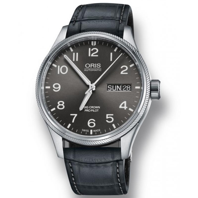 Image of   ORIS BIG CROWN PRO PILOT BIG DAY DATE automatik armbåndsur med grå skive og grå rem
