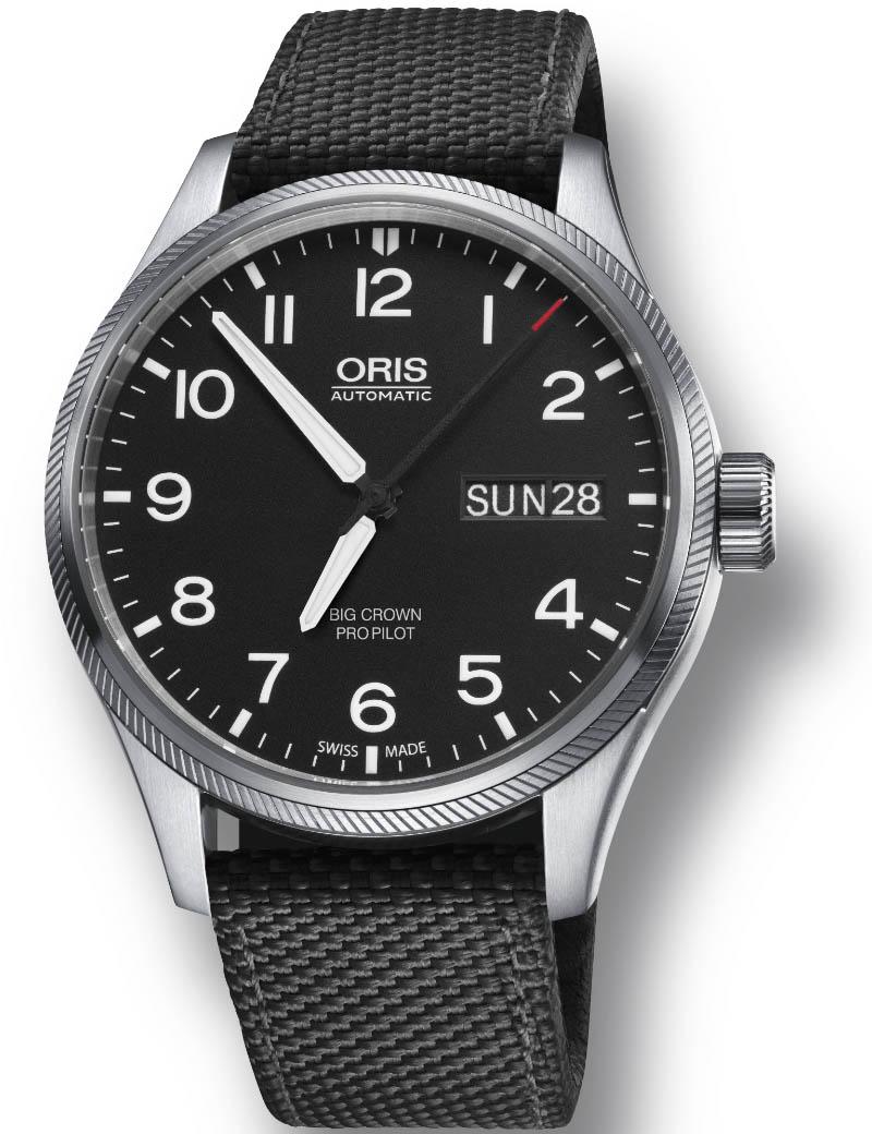 Image of   ORIS BIG CROWN PRO PILOT BIG DAY DATE automatik armbåndsur med sort skive og sort rem