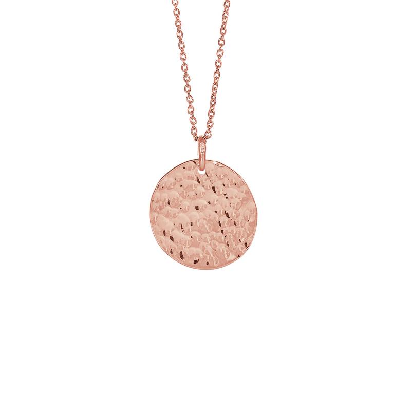 Nordahl Jewellery Two-sided lang halskæde i rosaforgyldt med rundt vedhæng Ø 20 mm