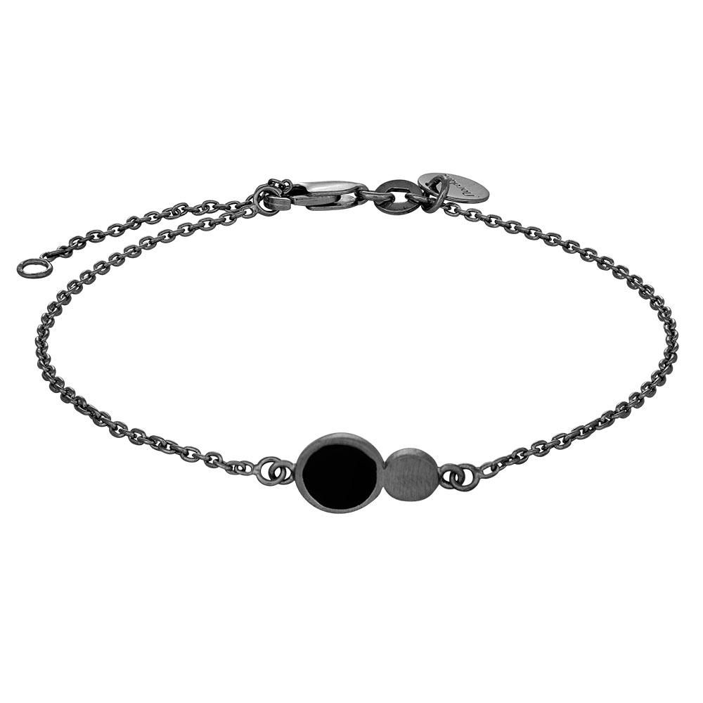 Nordahl Jewellery BLACK armbånd i sort sølv med to cirkler i sort sølv og sort thumbnail