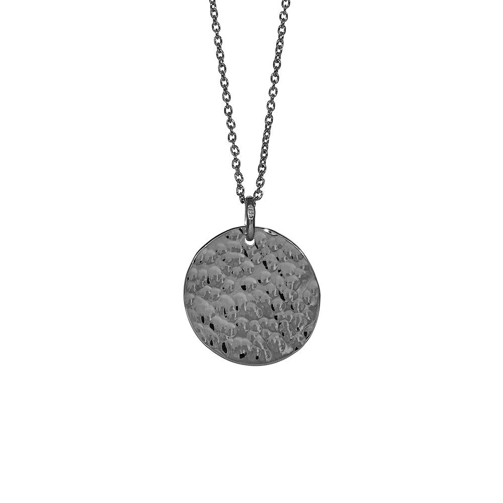 Nordahl Jewellery Two-sided lang halskæde i sort sølv med rundt vedhæng Ø 20 mm