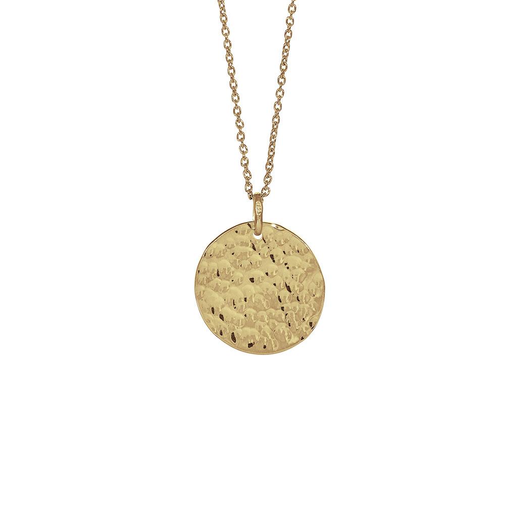 Nordahl Jewellery Two-sided lang halskæde i forgyldt med rundt vedhæng Ø 20 mm