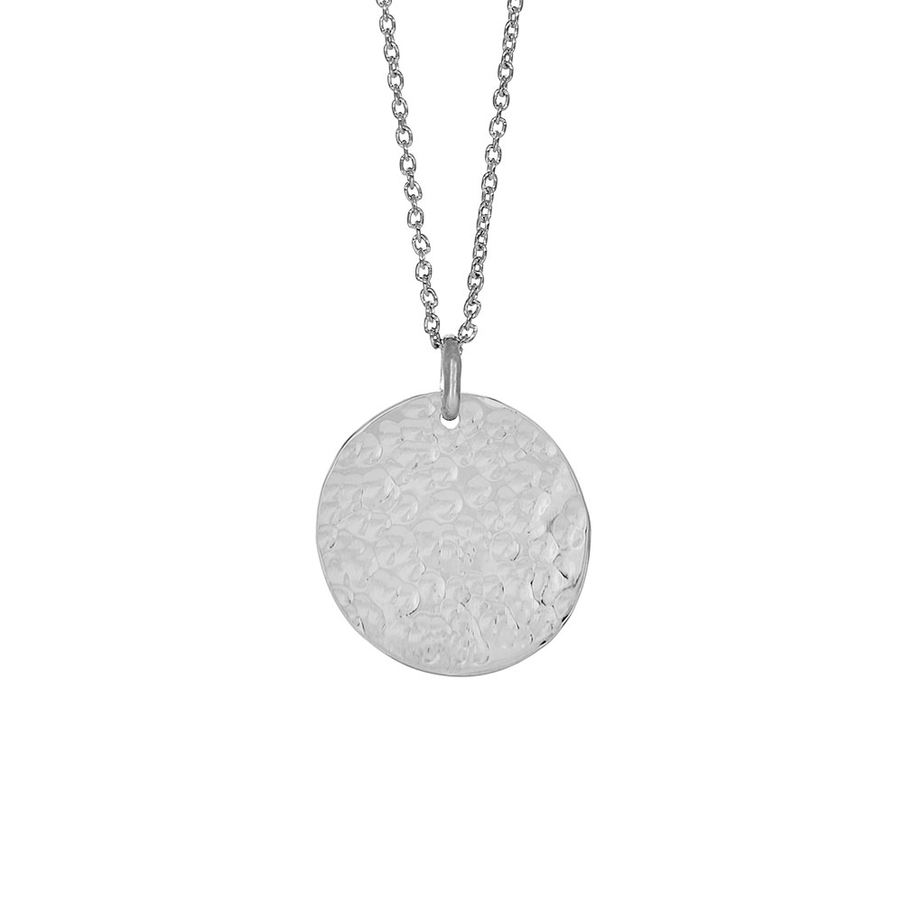Nordahl Jewellery Two-sided lang halskæde i sølv med rundt vedhæng Ø 20 mm