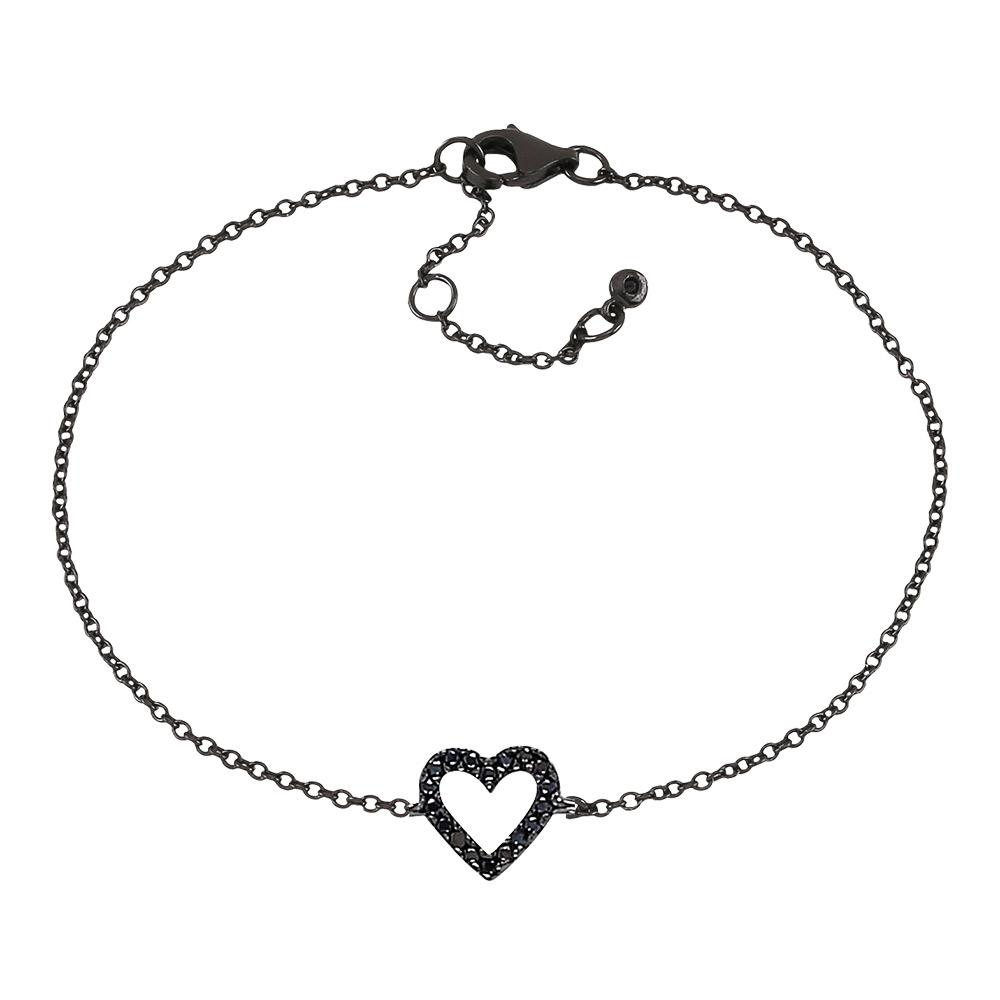 Image of   Joanli AidaNor armbånd i sort sølv med cz