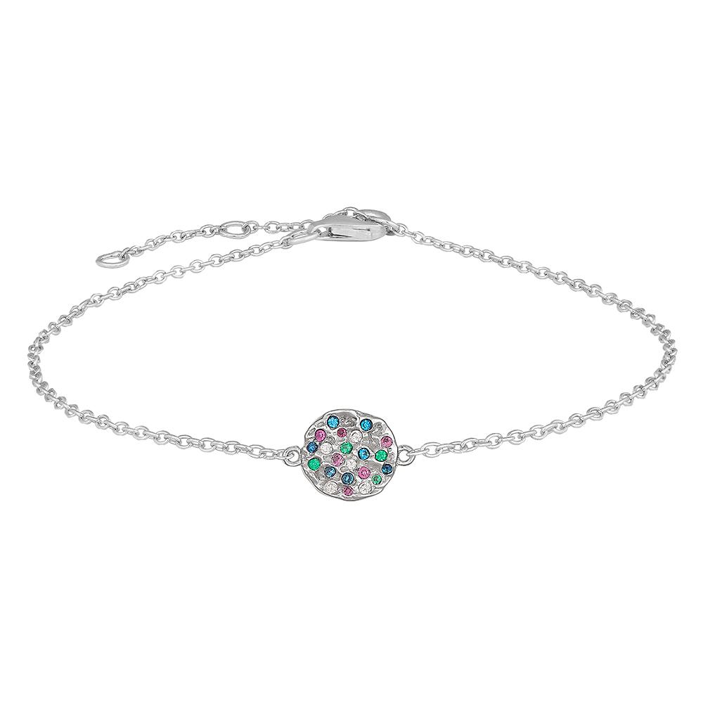 Image of   JOANLI FloraNor armbånd i sølv og farvede zirkoner