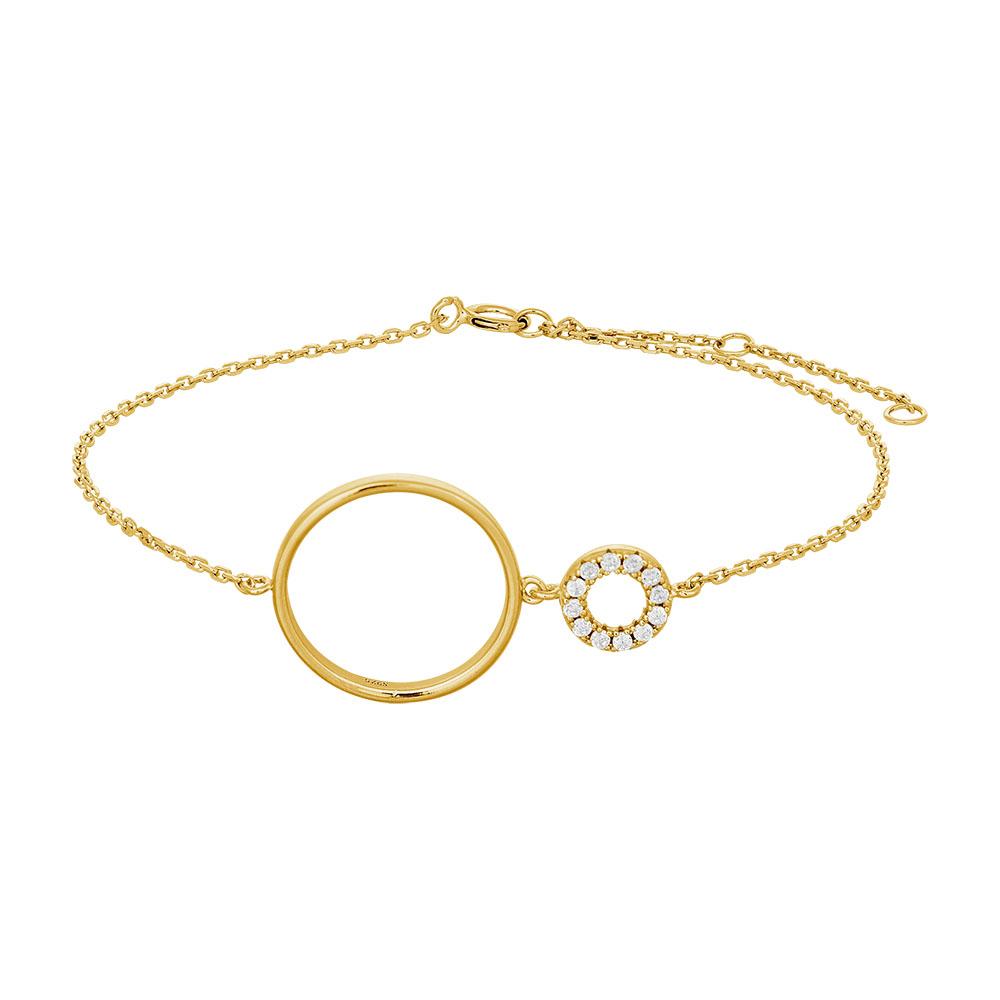 Image of   JOANLI Donna armbånd i forgyldt med lille og stor cirkel