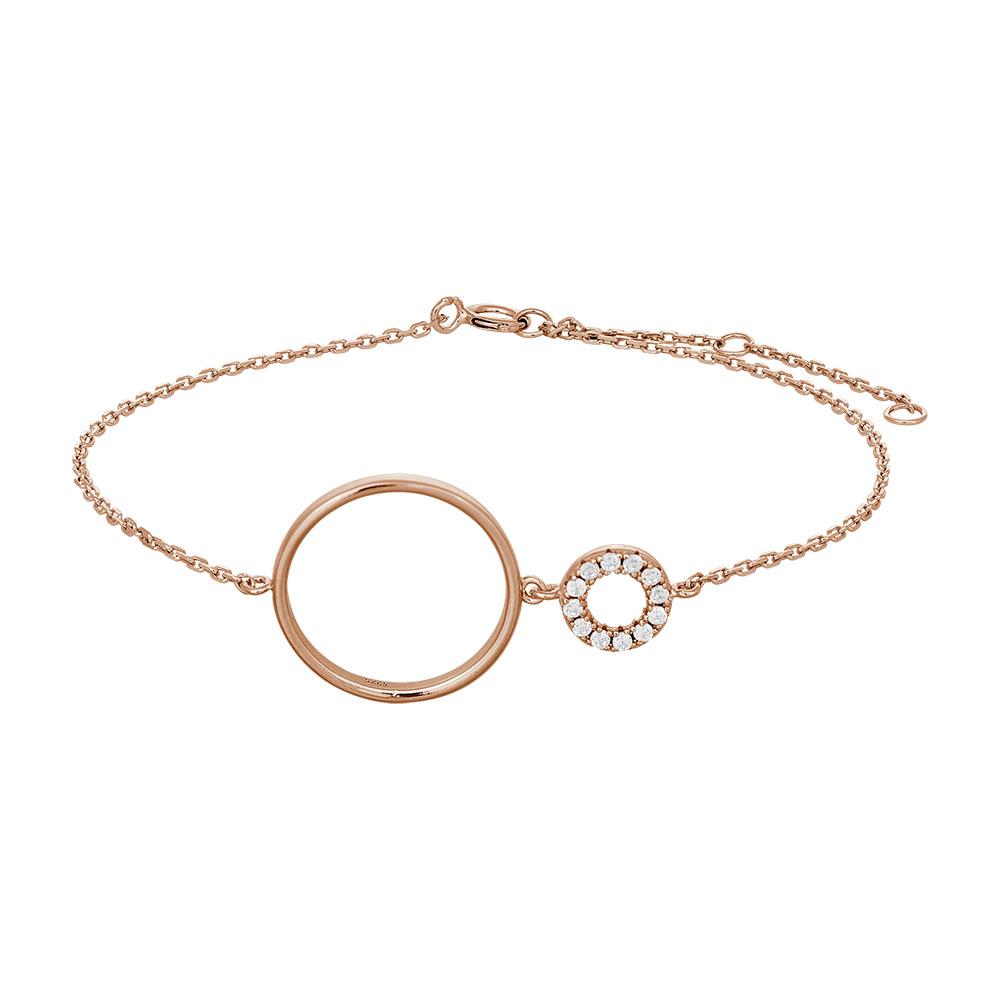 JOANLI Donna armbånd i rosaforgyldt med lille og stor cirkel thumbnail