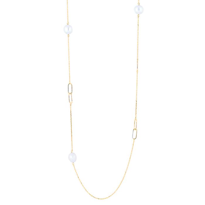 Image of   Nordahl BAROQUE lang kæde i forgyldt med perler og ovale led