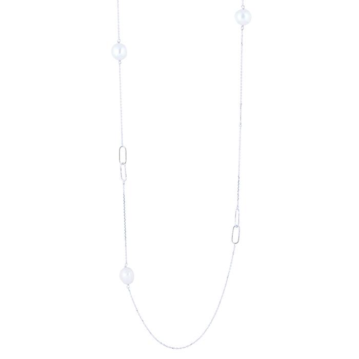 Billede af Nordahl BAROQUE lang kæde i sølv med perler og ovale led