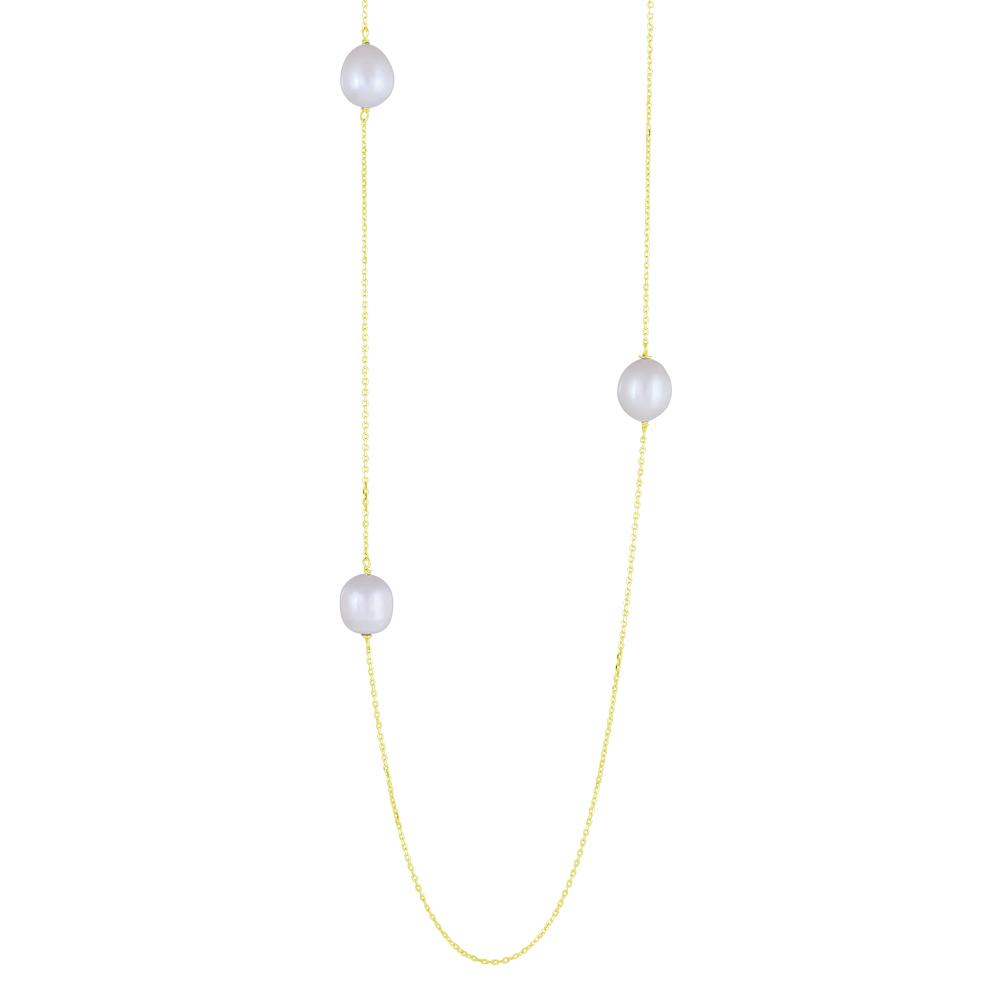 Image of   Nordahl BAROQUE lang kæde i forgyldt med perler