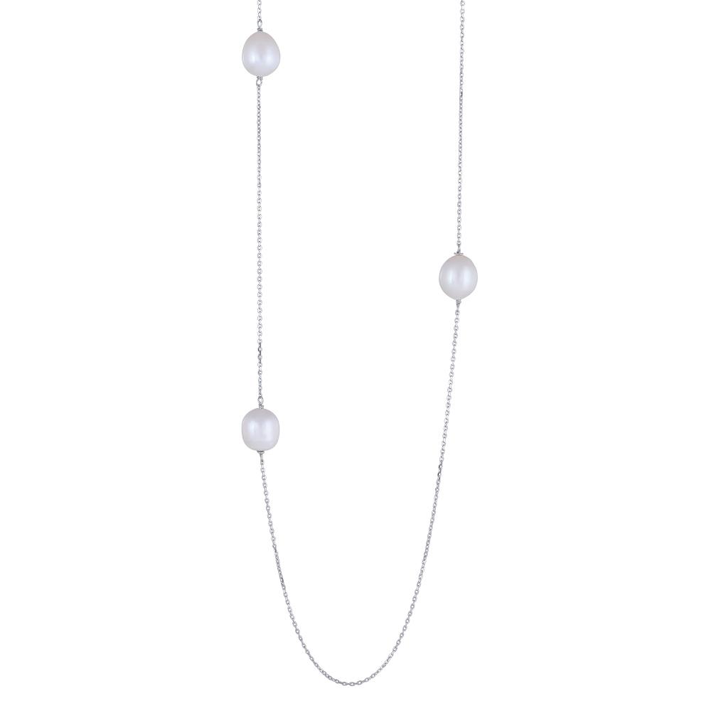 Image of   Nordahl BAROQUE lang kæde i sølv med perler