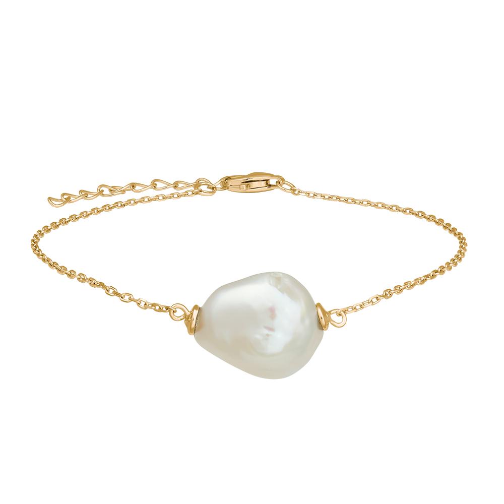 Nordahl Baroqur armbånd i forgyldt med perle