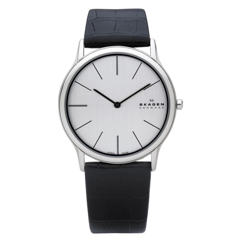 Image of   Skagen armbåndsur i stål med sort læderrem