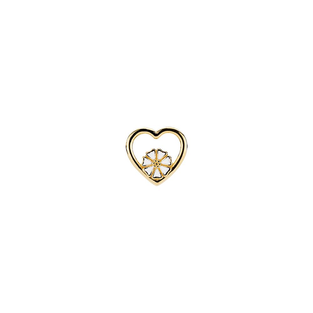 Image of   LUND Copenhagen Marguerit pin i forgyldt/hvid