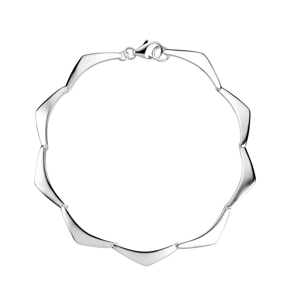 Image of   LUND Armbånd med trekanter i mat sølv