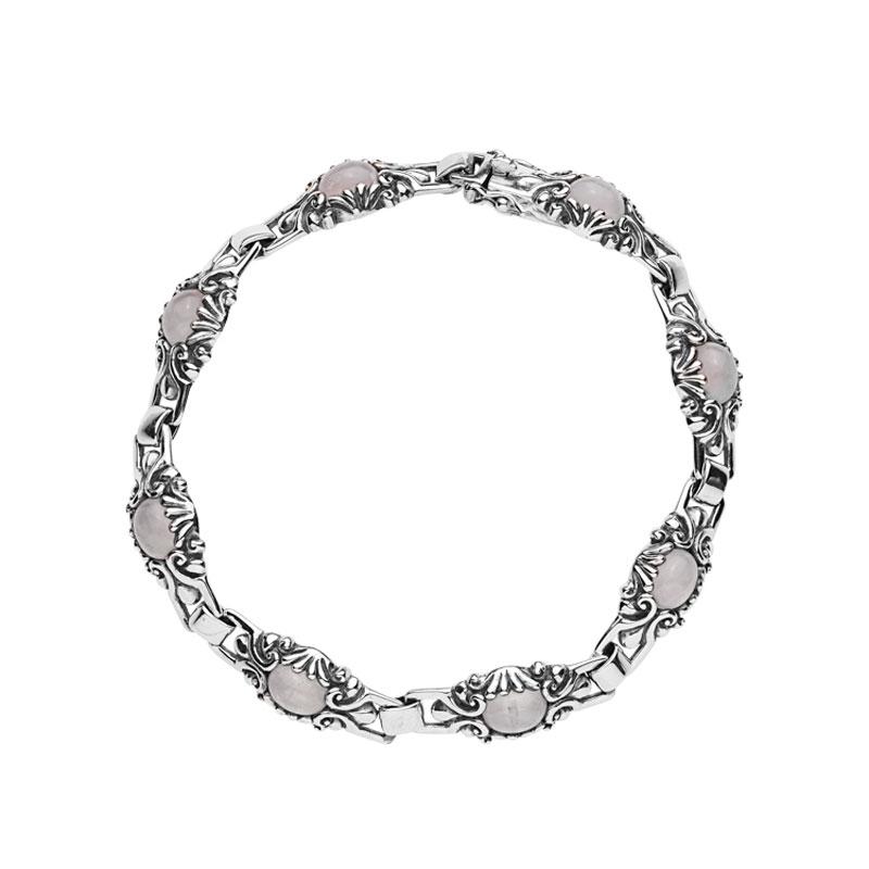Image of   Lund Copenhagen sølv armbånd med rosakvarts