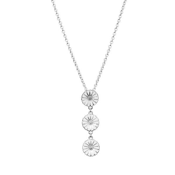 Image of   Lund Copenhagen Marguerit halskæde i sølv med hvid emalje