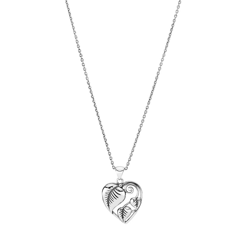 Lund Copenhagen sølv hjerte halskæde med blade, 48 cm