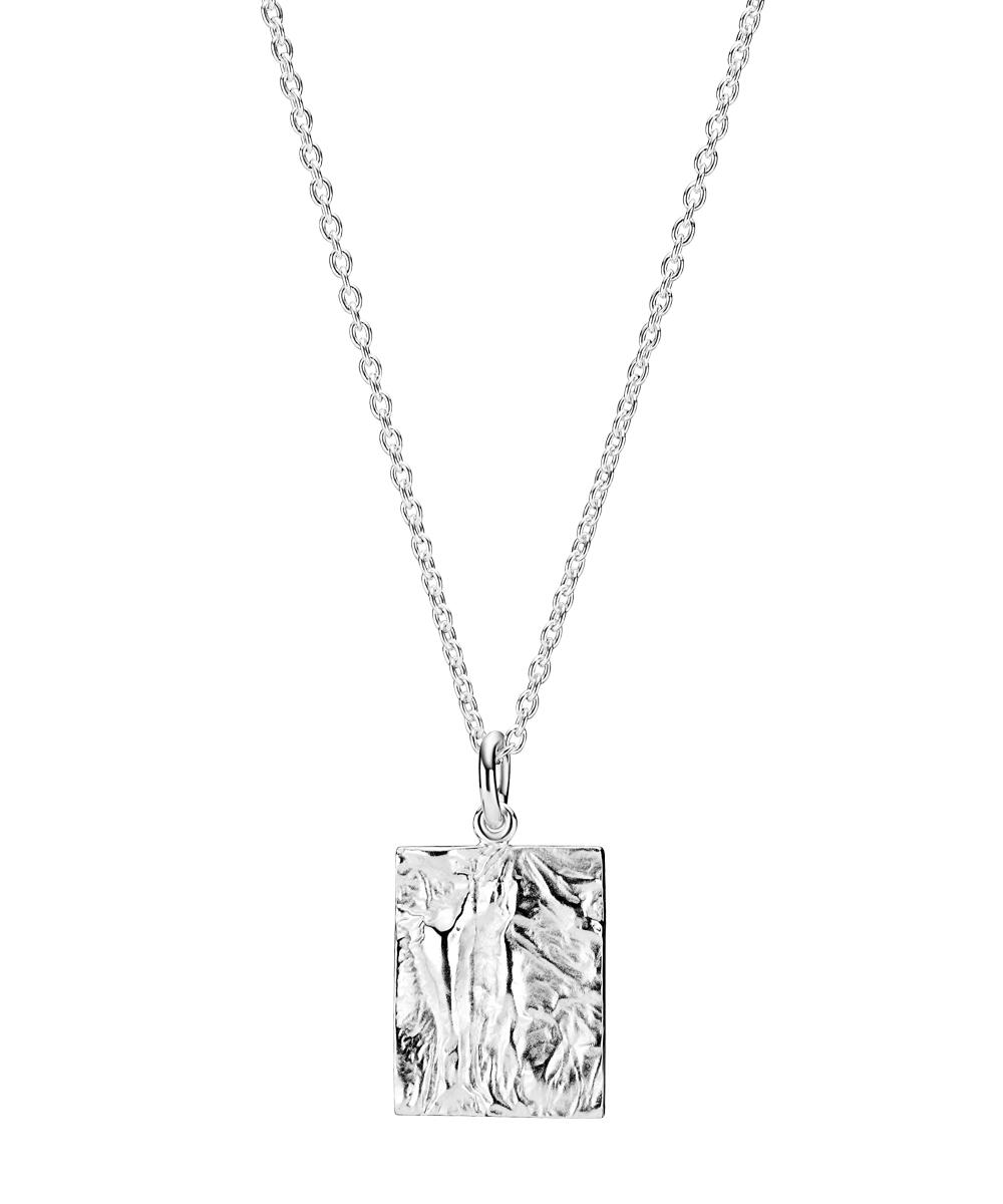 LUND halskæde i sølv med rustikt vedhæng
