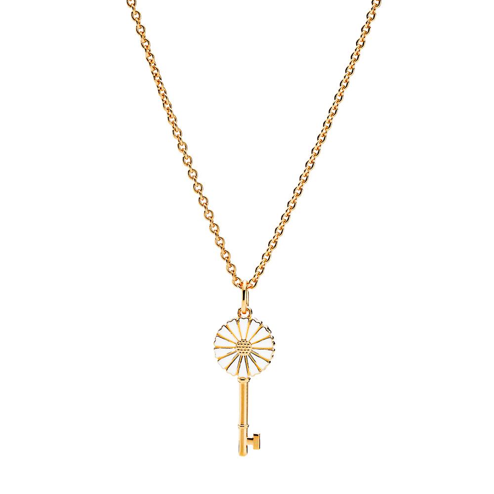 Lund Copenhagen Marguerit halskæde med nøglevedhæng, forgyldt