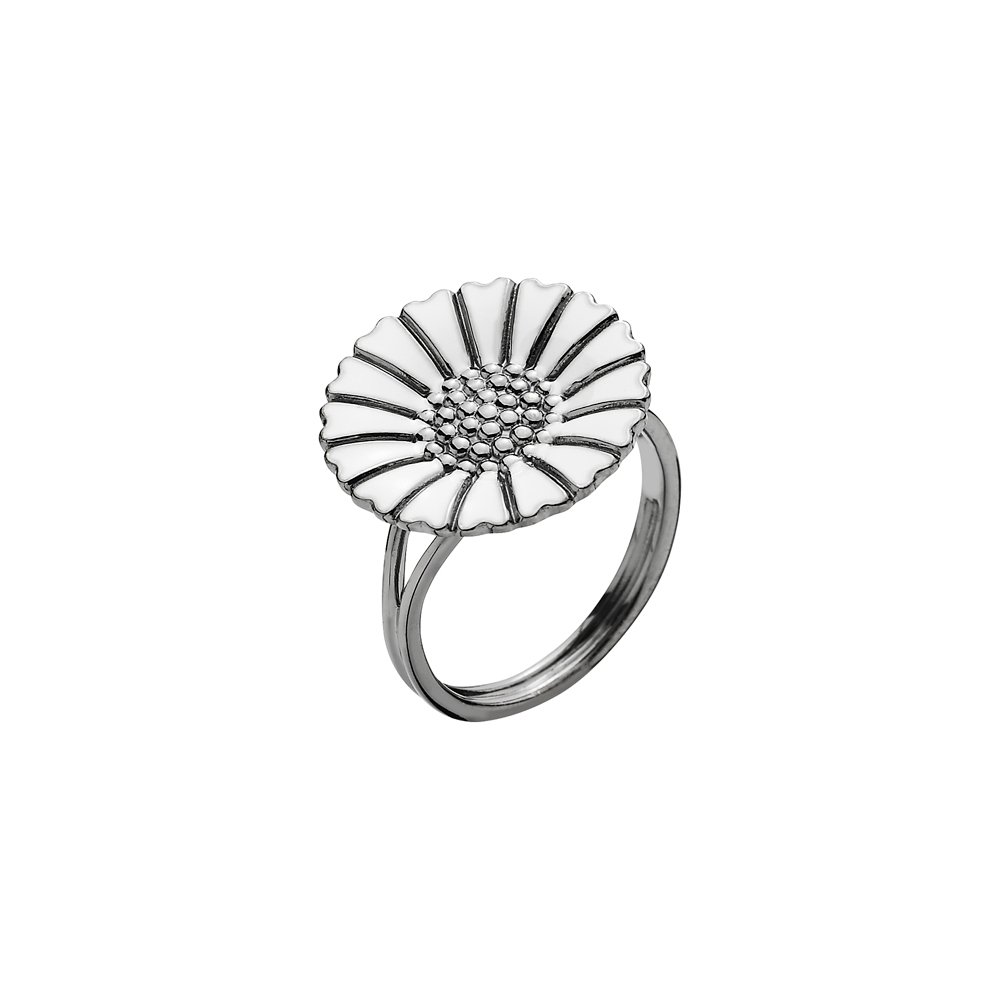 Lund Copenhagen Marguerit Ring sortrhodineret med hvid emalje, 18 mm-Str_59