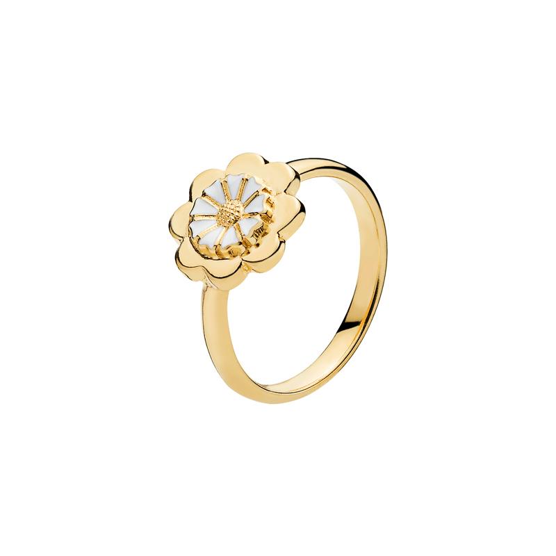 Lund Copenhagen Marguerit Ring forgyldt med hvid emalje-Str_57