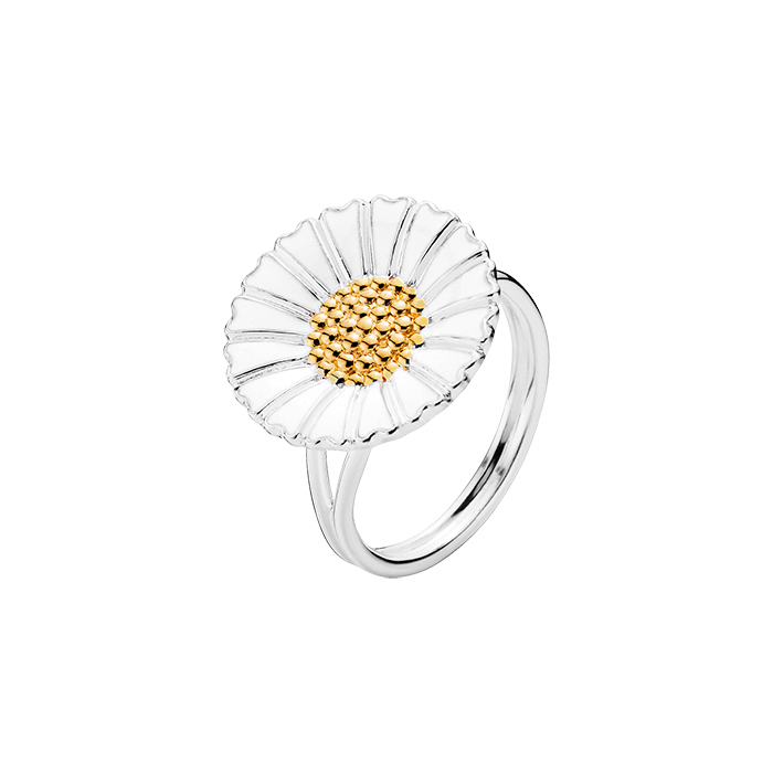 Lund Copenhagen Marguerit Ring i sølv/hvid 18mm