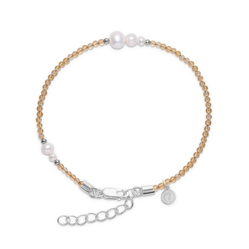 Mads Z Saint Tropez armbånd i sølv med citrin og perle
