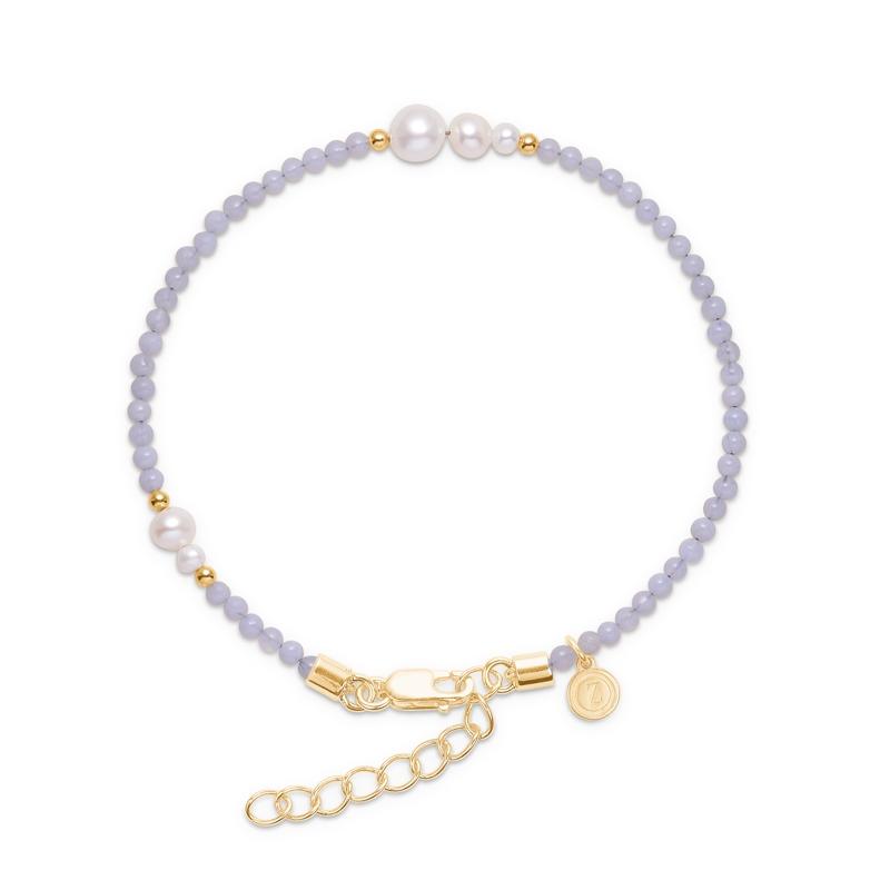 Mads Z Saint Tropez armbånd i forgyldt med perler og blondeagat