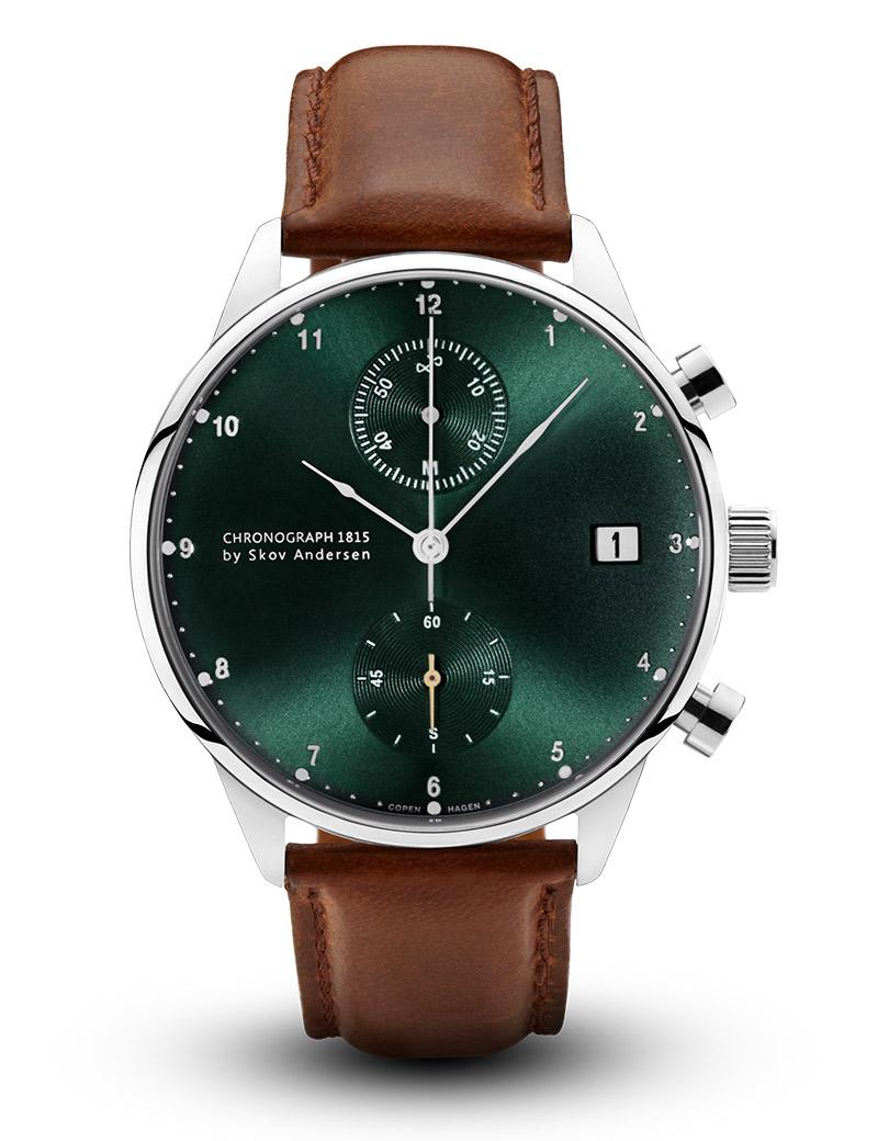 Image of   ABOUT VINTAGE 1815 chrono armbåndsur i stål med grøn skive og brun læderrem