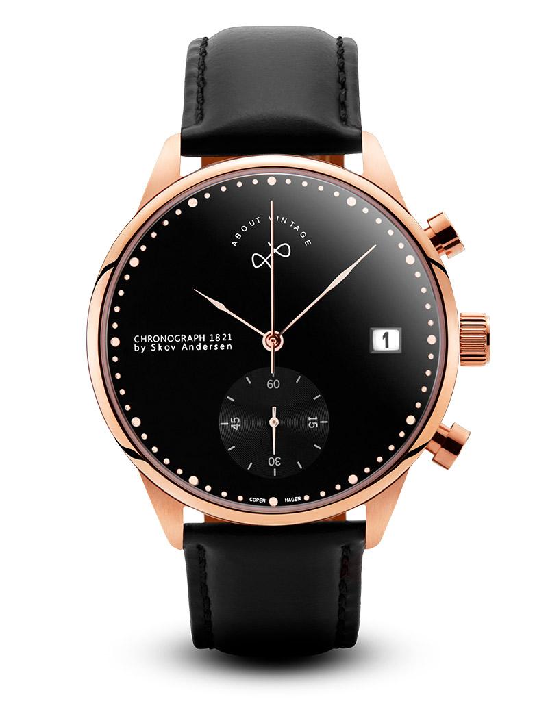 Image of   ABOUT VINTAGE 1821 chrono armbåndsur i rosa stål med sort skive og sort læderrem