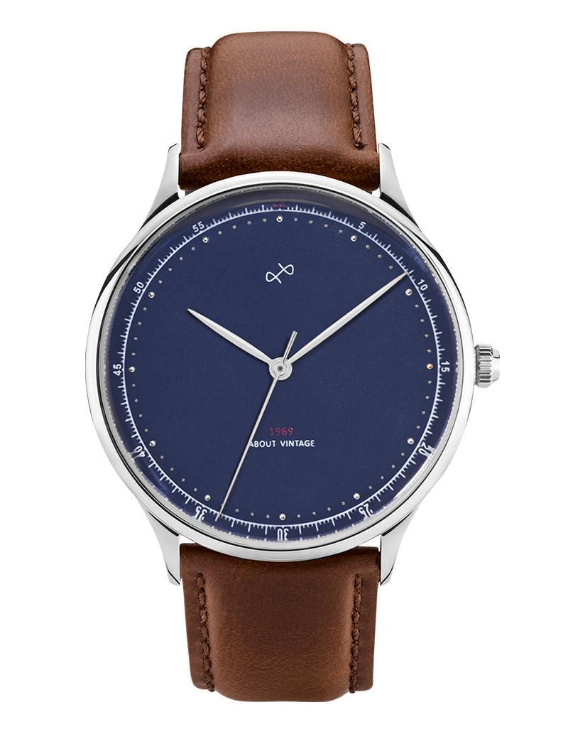 Image of   ABOUT VINTAGE 1969 armbåndsur Ø 39 mm i stål med blå skive og brun læderrem