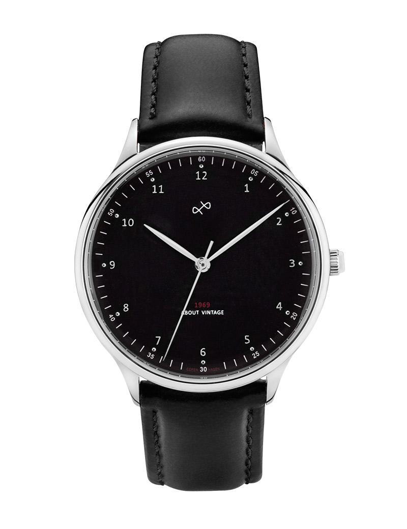 Billede af ABOUT VINTAGE 1969 armbåndsur Ø 36 mm i stål med sort skive og sort læderrem